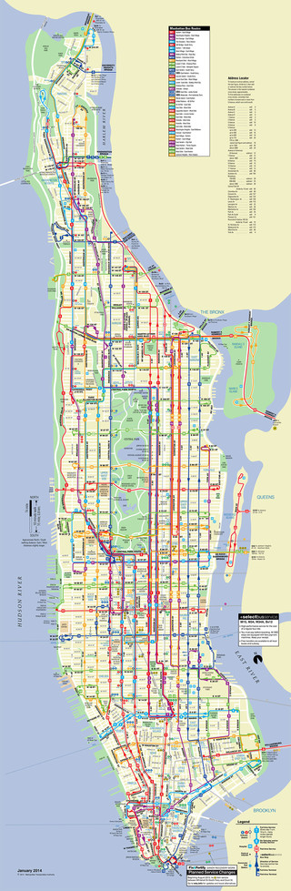 Carte du reseau de bus de Manhattan