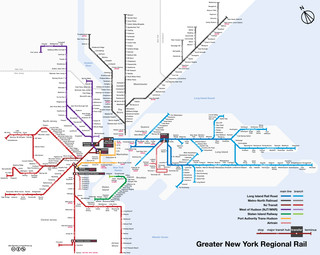 Carte du reseau de train de banlieue de New York