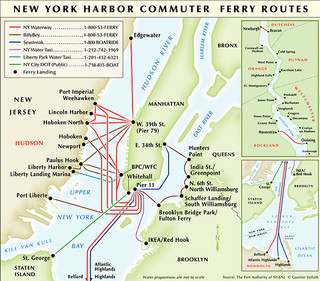 Carte du reseau de ferry de New York