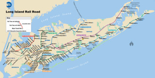 Carte du reseau de train urbain Long Island Rail Road (LIRR) de New York