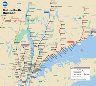 Carte du reseau de train urbain Metro North Railroad (MNR) de New York