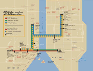 Carte du reseau de train urbain Port Authority Trans-Hudson de New York