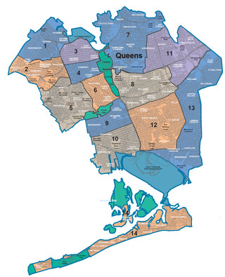 Carte des quartiers du Queens